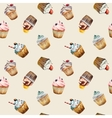 Watercolor cupcake seamless pattern vector image vector image