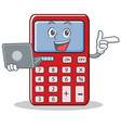with laptop cute calculator character cartoon vector image