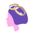 women profile with ring vector image vector image