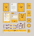 yellow corporate identity design template with vector image