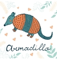 Armadillo Hand drawn card with cute vector image vector image