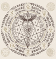 banner with hermes staff caduceus and runes vector image vector image
