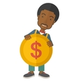 Black Businessman holding a big coin vector image