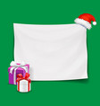 blank christmas banner with santa hat vector image