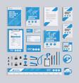 blue geometric corporate identity design template vector image