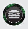 button with green black tartan - hamburger icon vector image vector image