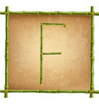 capital letter f made of green bamboo sticks on vector image vector image