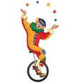 cartoon circus clown juggling balls on unicycle vector image