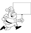 cartoon santa claus running while holding a sign vector image vector image