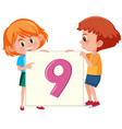 children holding number nine card vector image vector image