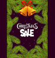 christmas sale with branches on black background vector image