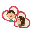 color silhouette with her and him in hearts frames vector image vector image