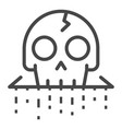 crack skull icon outline style vector image