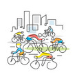cyclists in a city line art vector image vector image