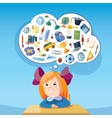 dreaming school girl at desk vector image vector image