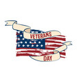 flag of usa with a ribbon veteran day label vector image vector image