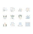 Flat color line Christmas icons set vector image vector image