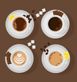 four cups with different coffee chocolate lemon vector image