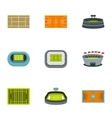 Game at stadium icons set flat style vector image vector image