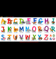 german alphabet with cartoon animals set vector image