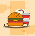 hamburger and soda fast food on dish vector image vector image