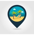 Hammock with palm trees on beach pin map icon vector image vector image