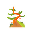 hand drawn cartoon forest landscape with curved vector image
