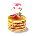 happy birthday cake watercolor juicy vector image