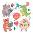 happy cartoon animals holding gift box vector image
