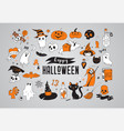 happy halloween stickers icons elements vector image vector image