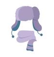 Hat Winter Warm Violet Headwear and Woolen Scarf vector image vector image