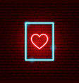 heart postcard neon sign vector image vector image