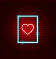 heart postcard neon sign vector image