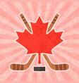 Hockey in Canada - Canadian Maple Leaf vector image vector image