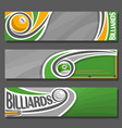 horizontal banners for billiards vector image vector image