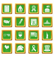 independence day flag icons set green vector image vector image