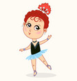 little cartoon ballerina girl dancing vector image