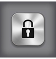Lock icon - metal app button vector image vector image