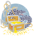 Moray and a treasure chest vector image vector image