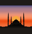 mosque silhouette in sunset beautiful night vector image