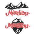 mountains hand drawn lettering with mountain icons vector image vector image