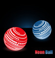 neon glowing balls dark background stylish vector image vector image