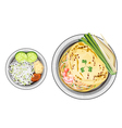 Pad Thai or Stir Fried Noodles Wrapped with Omelet vector image vector image