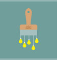paintbrush icon with yellow light bulb drops vector image vector image
