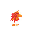 poly wolf head polygon logo design vector image
