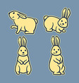 Rabbit Line Art Set2 vector image