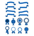 retro blue banner ribbons and badges vector image