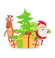 santa claus and deer near decorated x-mas tree vector image
