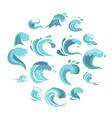 sea waves set flat icons vector image vector image