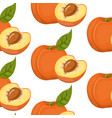 seamless background with peaches on a white vector image vector image